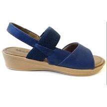 SANDALIA COURO CONFORTO ANABELA V1216-USAFLEX (69) - NEW BLUE