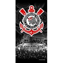 TOALHA CORINTHIANS VELUDO 206930 - BOUTON - PRETO/VERMELHO