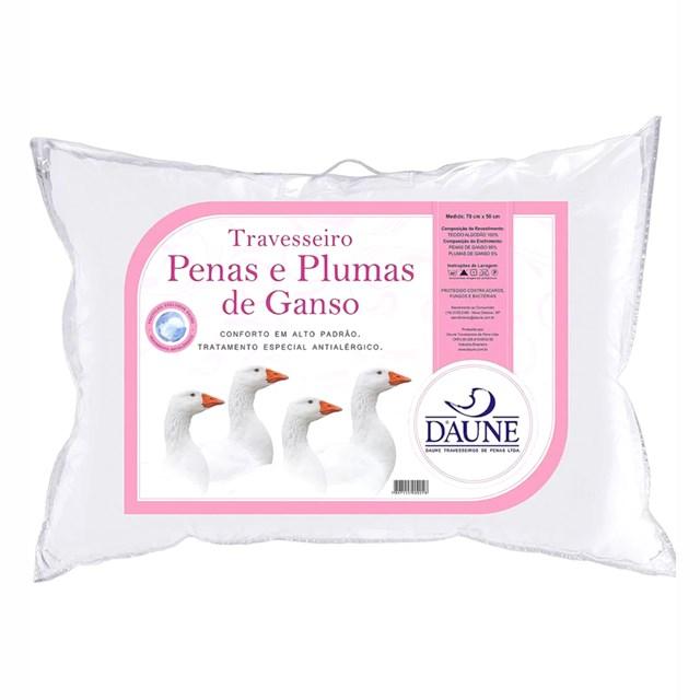 TRAVESSEIRO PENAS E PLUMAS DE GANSO 70X50 DAUNE - BRANCO